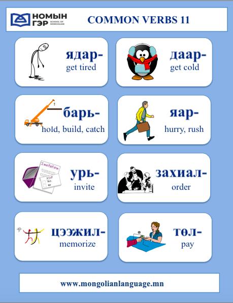 Mongolian Vocabulary Common Verbs 11